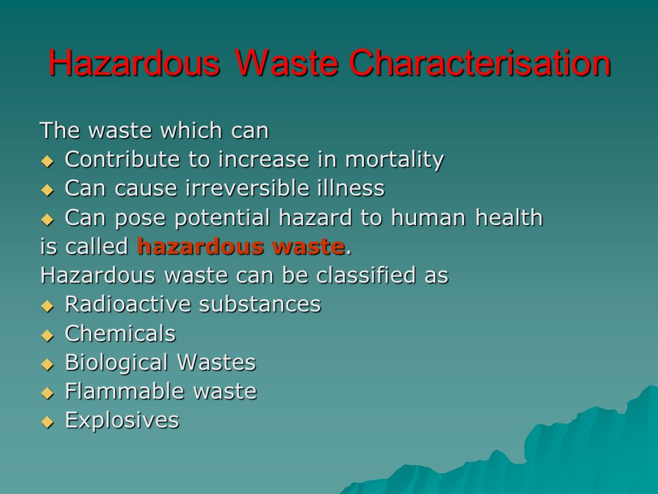 Hazardous Waste Characterisation