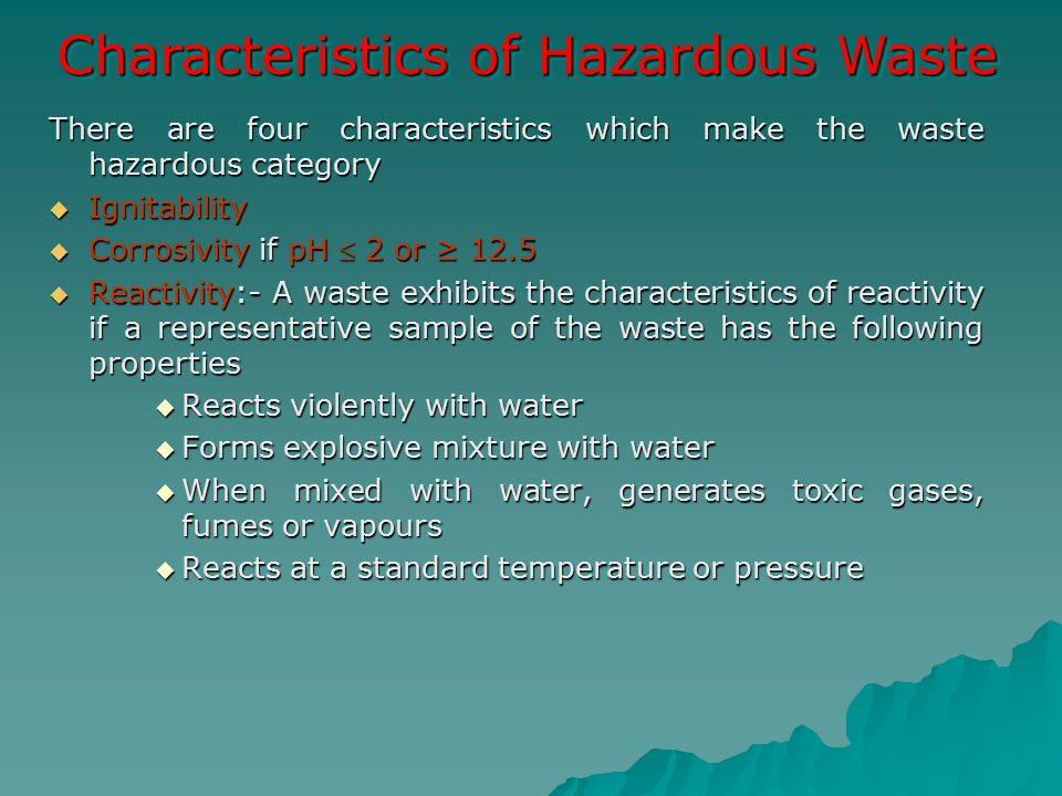 Characteristics of Hazardous Waste