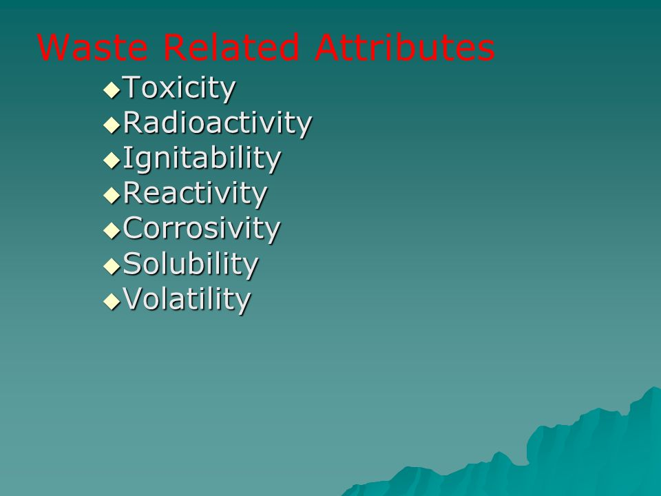 Waste Related Attributes
