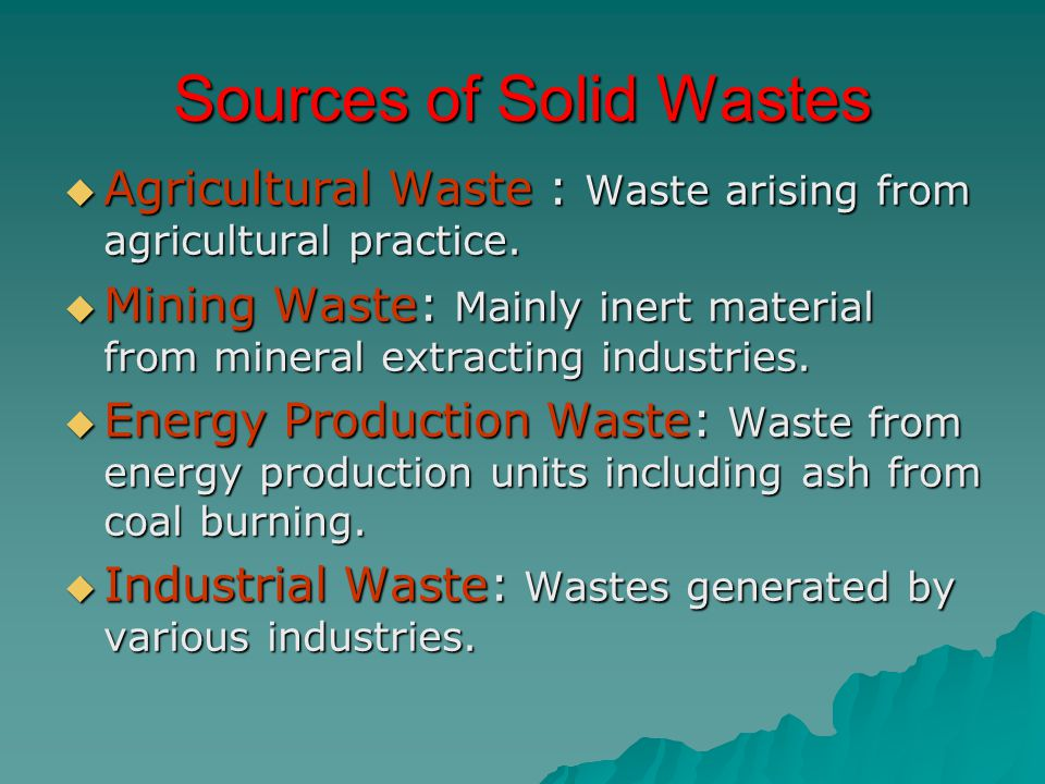 Sources of Solid Wastes
