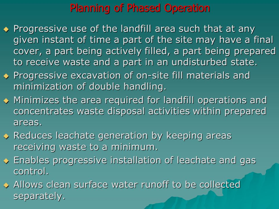 Planning of Phased Operation