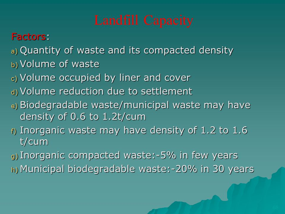 Landfill Capacity Factors: Quantity of waste and its compacted density