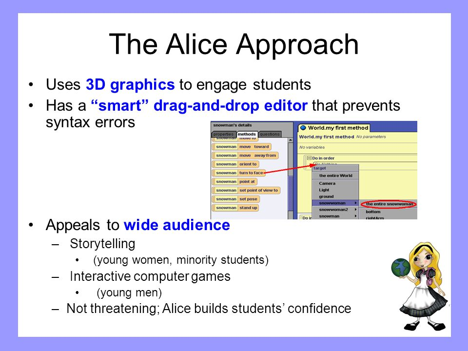 The Alice Approach Uses 3D graphics to engage students