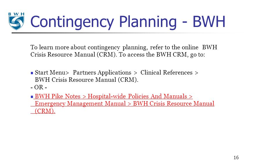 Contingency Planning - BWH