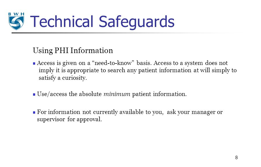 Technical Safeguards Using PHI Information