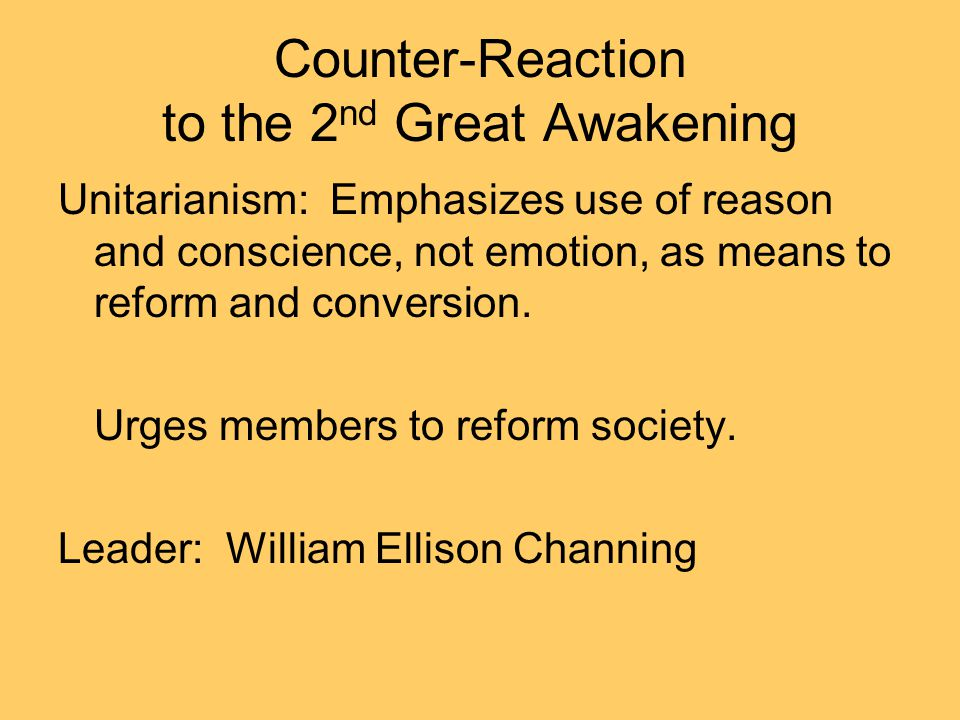 Counter-Reaction to the 2nd Great Awakening
