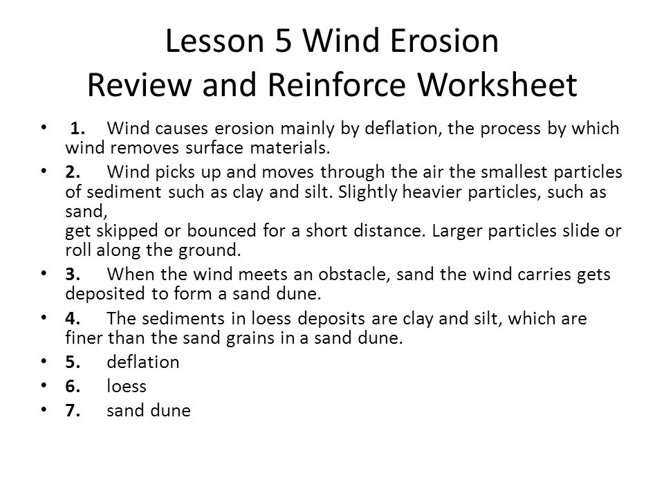 Earth's Surface Chapter 3 Erosion And Deposition Ppt Video Online. Lesson 5 Wind Erosion Review And Reinforce Worksheet. Worksheet. Erosion Worksheet Year 3 At Mspartners.co