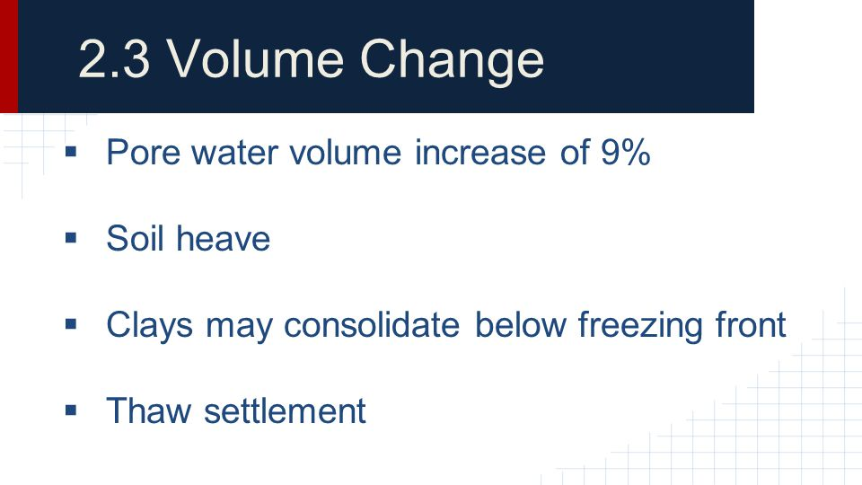 2.3 Volume Change Pore water volume increase of 9% Soil heave