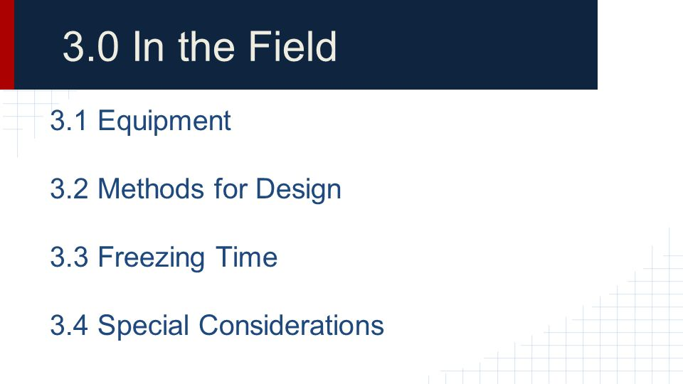 3.0 In the Field 3.1 Equipment 3.2 Methods for Design