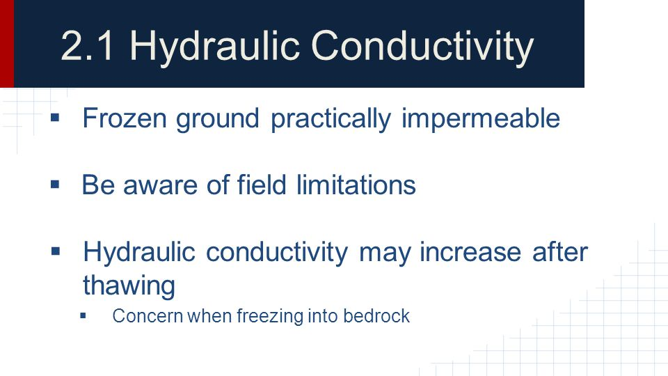2.1 Hydraulic Conductivity