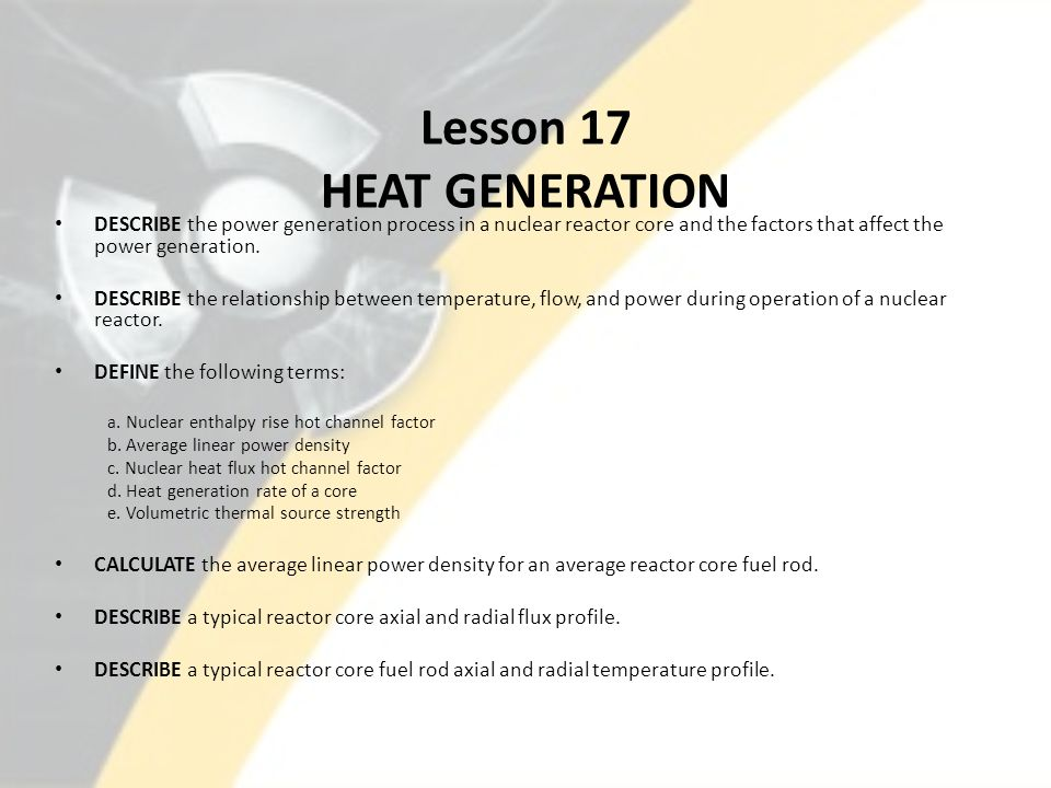 Lesson 17 HEAT GENERATION