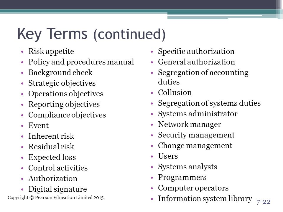 Key Terms (continued) Risk appetite Policy and procedures manual