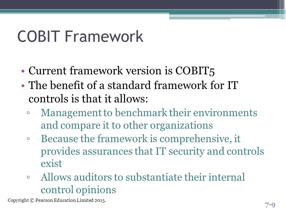 COBIT Framework Current framework version is COBIT5