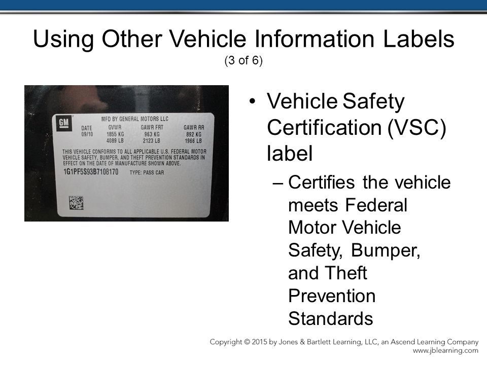 Vehicle Safety Certification Label - Trovoadasonhos