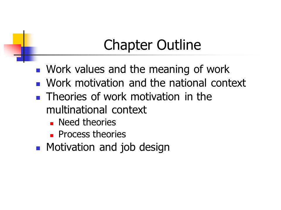 Chapter Outline Work values and the meaning of work