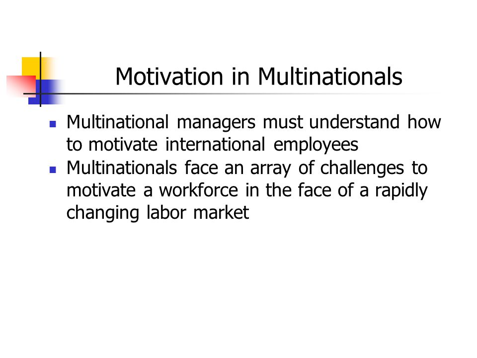 Motivation in Multinationals