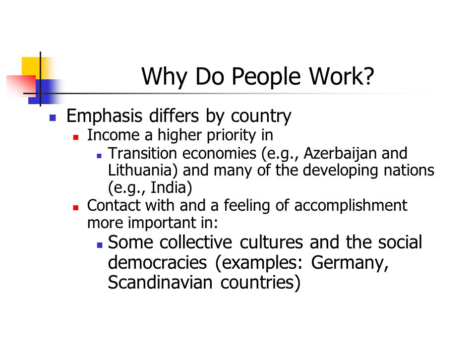 Why Do People Work Emphasis differs by country