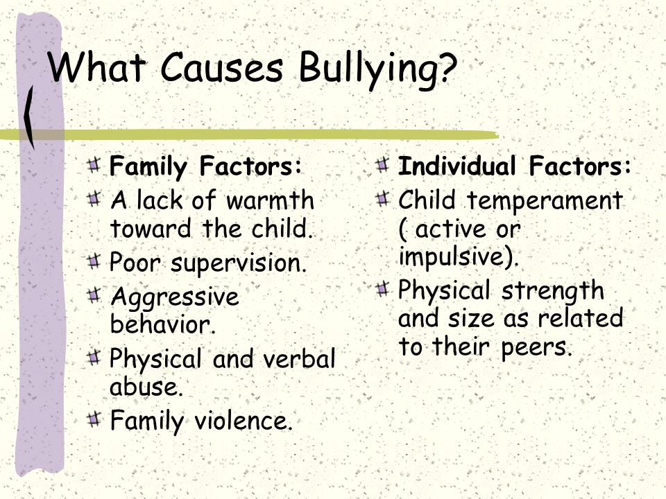 What Causes Bullying Family Factors: