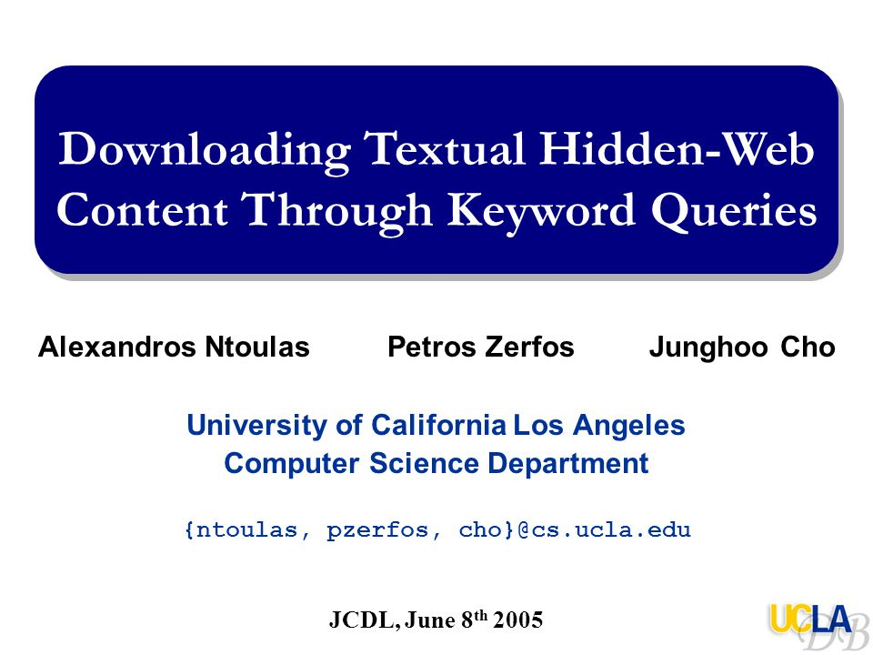 Downloading Textual Hidden-Web Content Through Keyword Queries