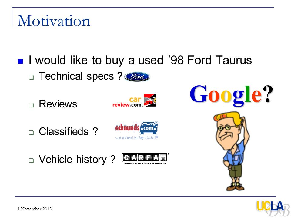 Google Motivation I would like to buy a used '98 Ford Taurus