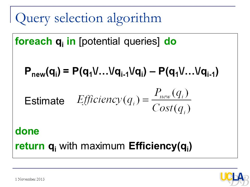Query selection algorithm