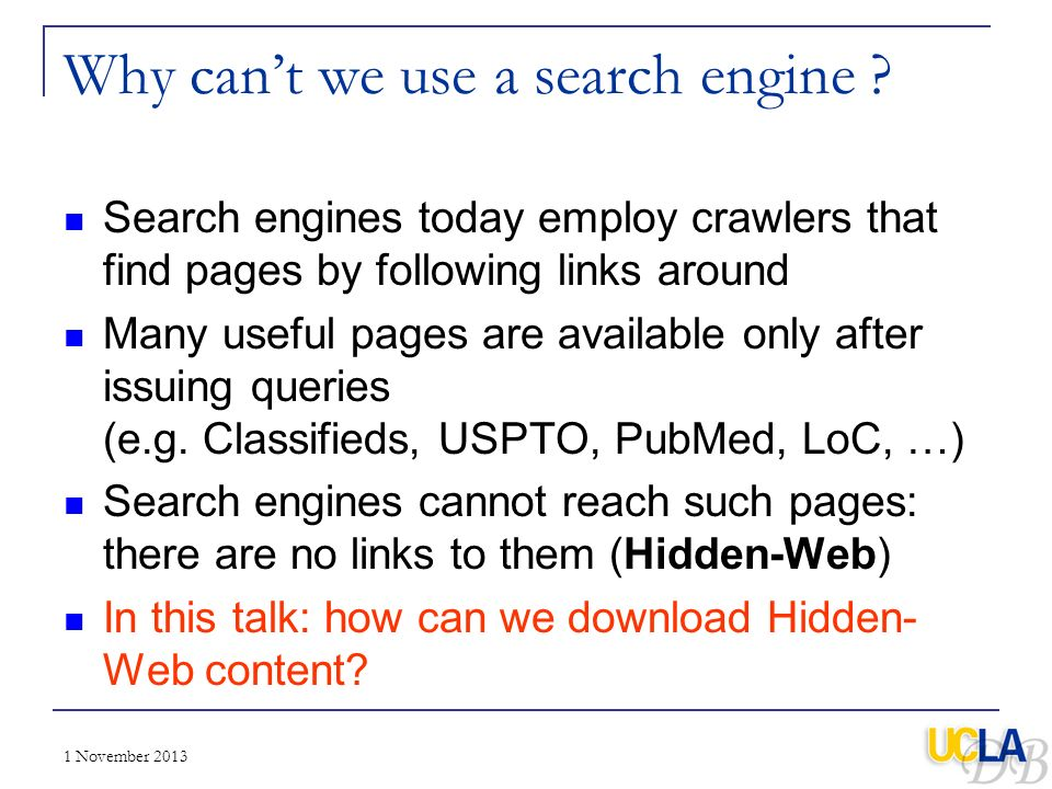 Why can't we use a search engine