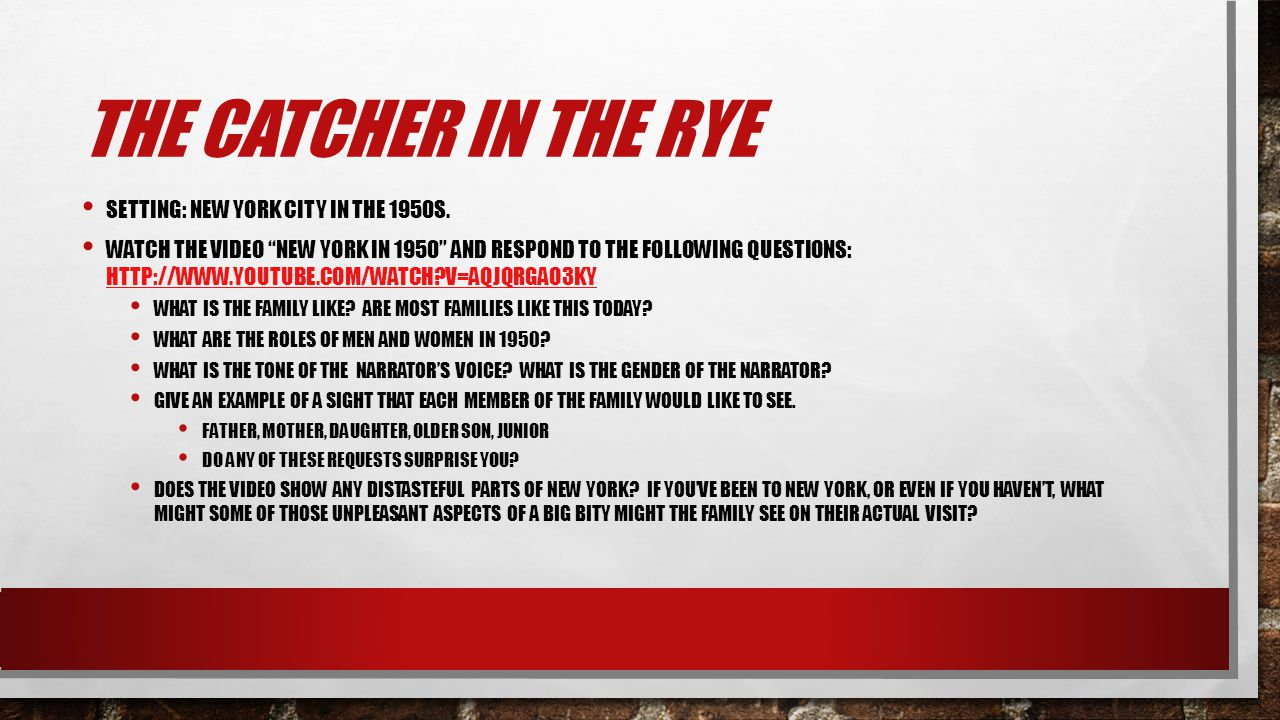 what is the setting of the catcher in the rye