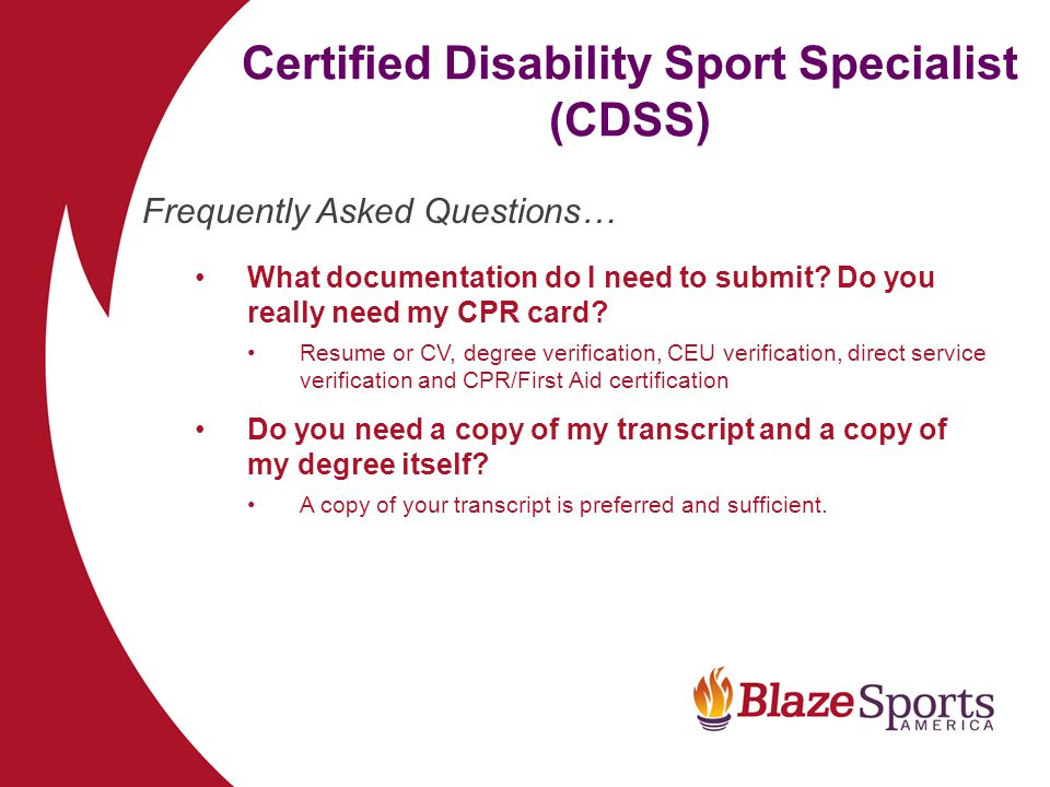 The Certified Disability Sport Specialist Cdss Program Ppt Download