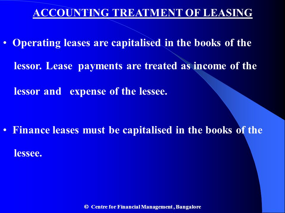 ACCOUNTING TREATMENT OF LEASING