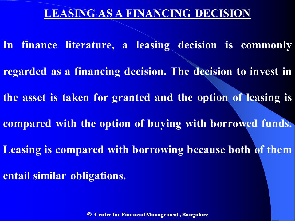 LEASING AS A FINANCING DECISION