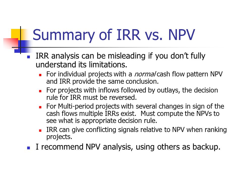 financial analysis case using npv An npv profile is the plot of a project's npv versus its cost of capital the crossover rate is the cost of capital at which the npv profiles for two projects intersect.
