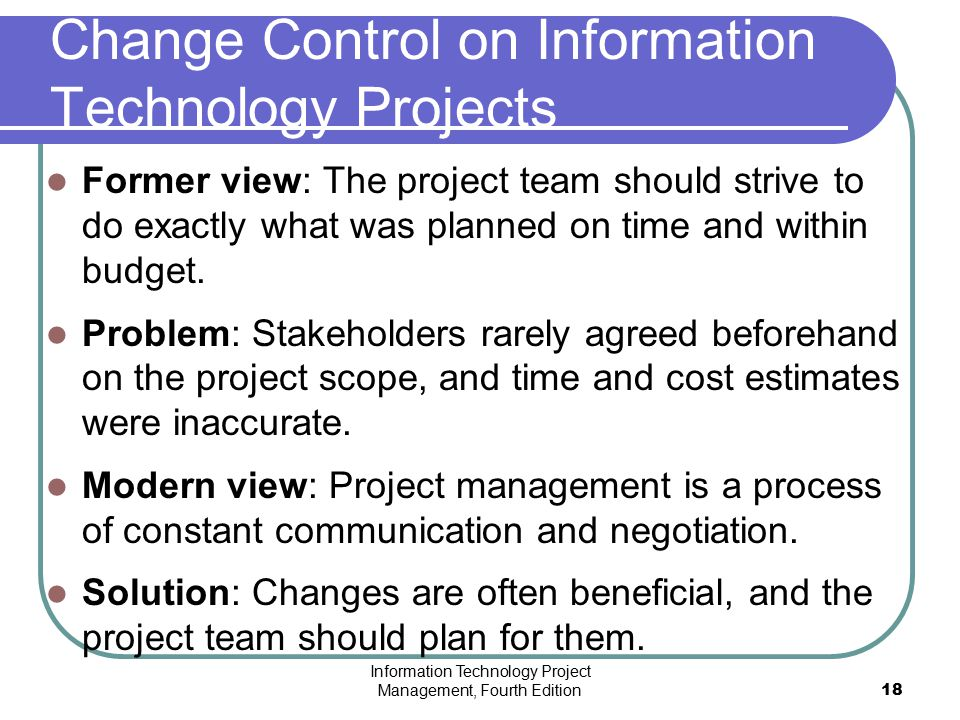 Change Control on Information Technology Projects