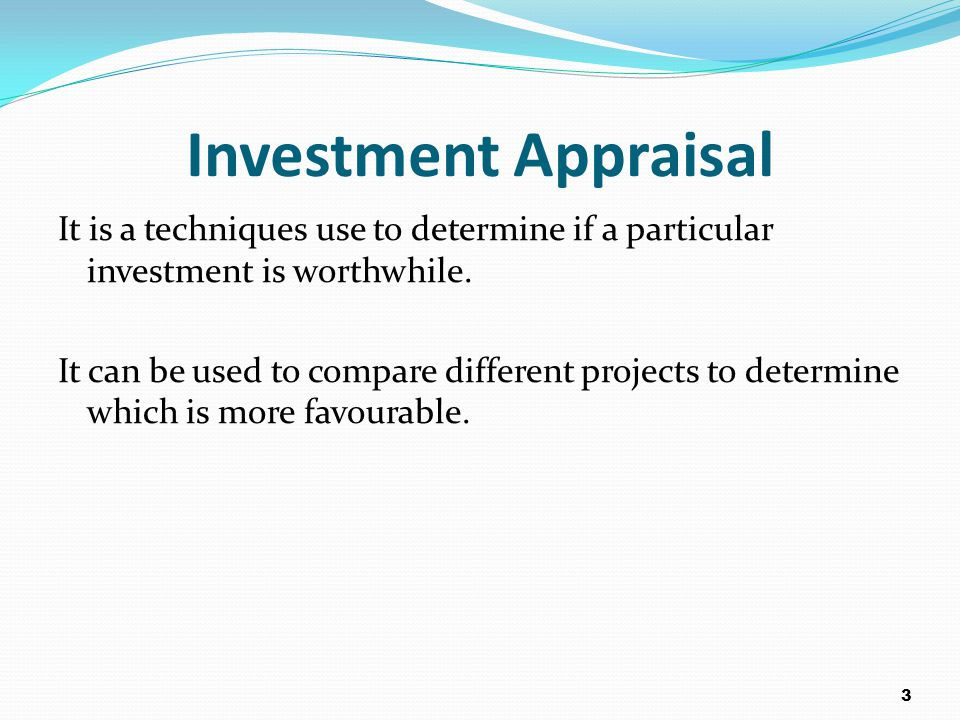 Investments appraisal techniques greetsiel pension and investments
