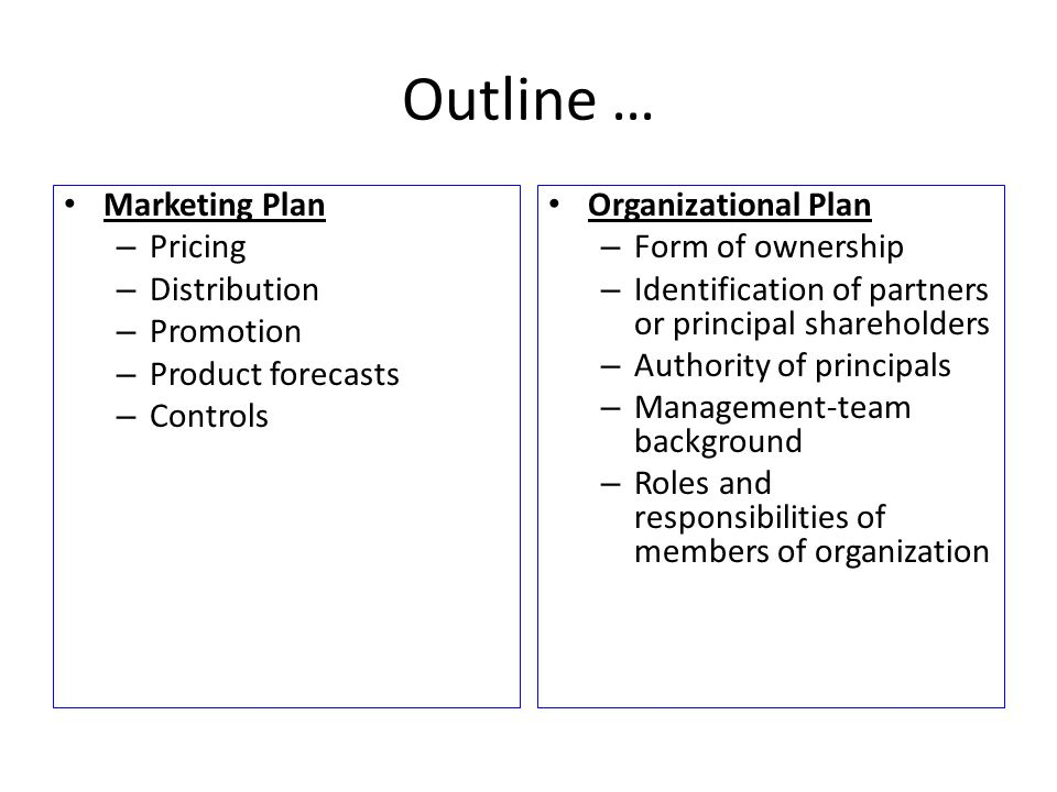 Outline … Marketing Plan Pricing Distribution Promotion