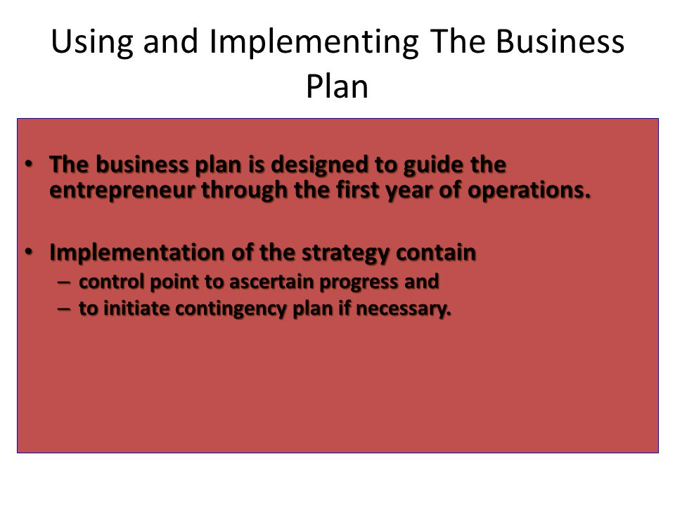 Using and Implementing The Business Plan