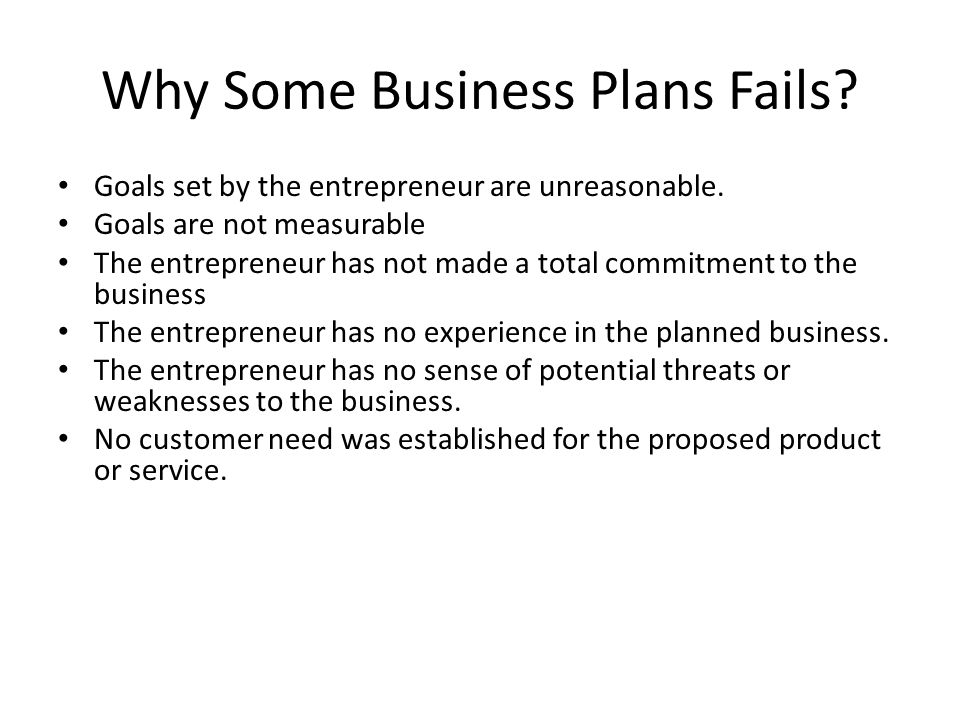 Why Some Business Plans Fails