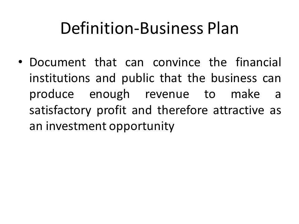 Definition-Business Plan