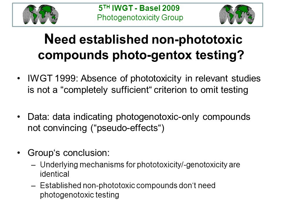 Need established non-phototoxic compounds photo-gentox testing