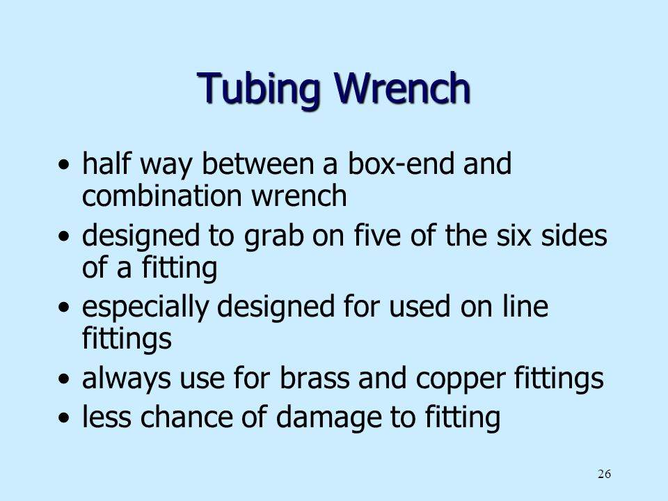 Tubing Wrench half way between a box-end and combination wrench
