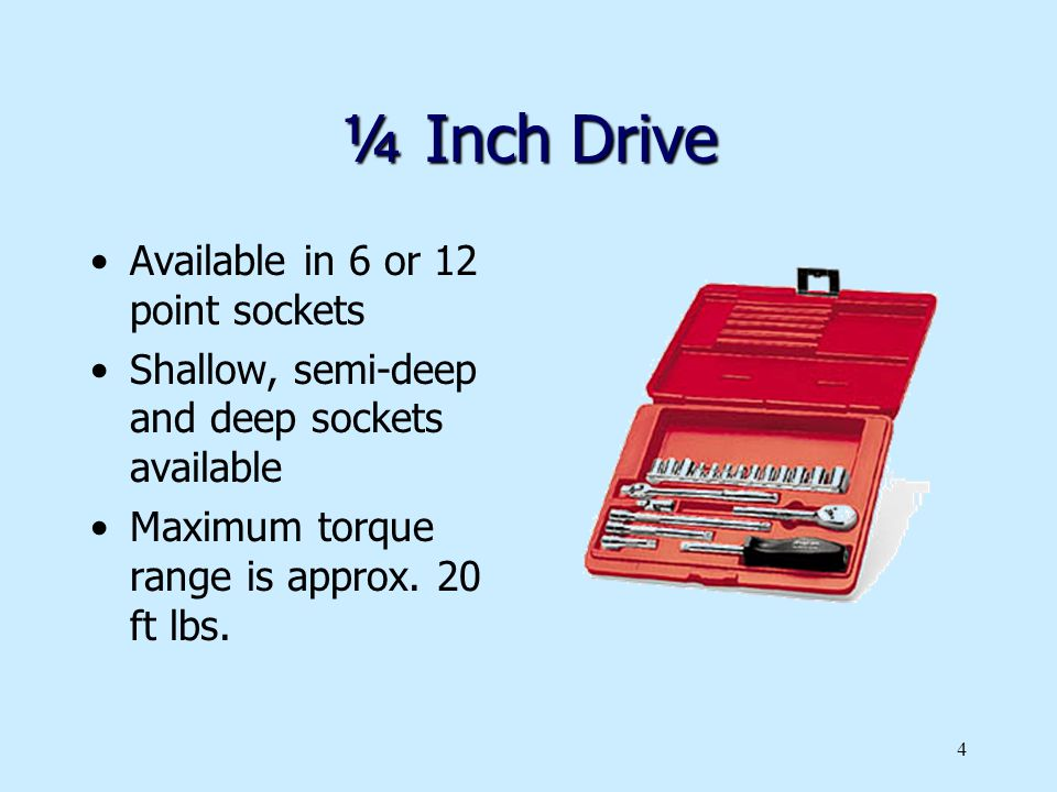 ¼ Inch Drive Available in 6 or 12 point sockets