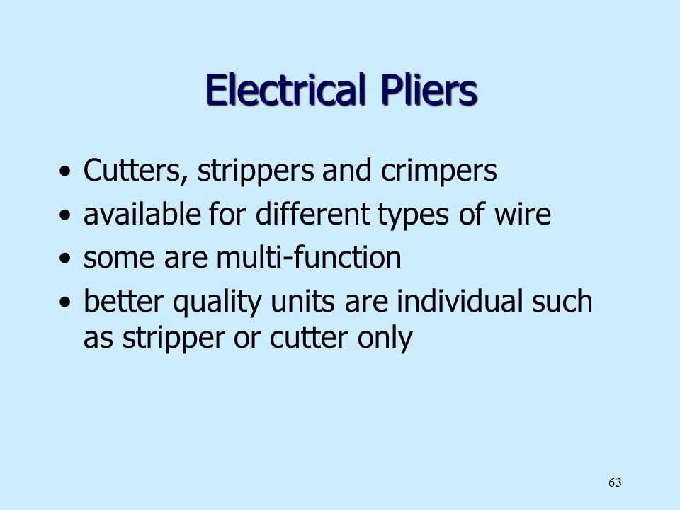 Electrical Pliers Cutters, strippers and crimpers