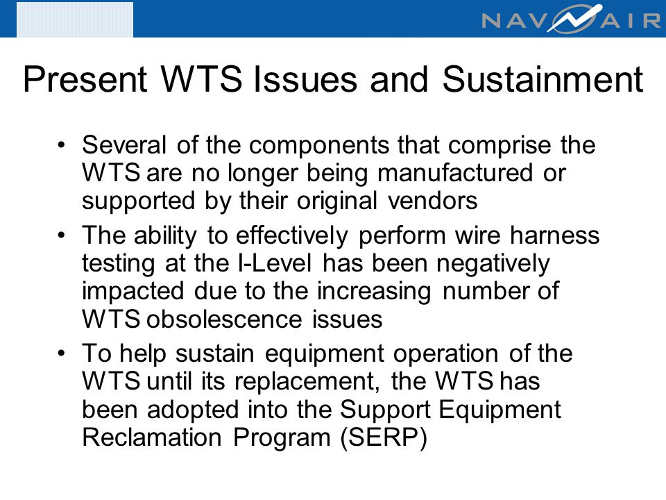 Present+WTS+Issues+and+Sustainment organizational & intermediate level wire tester acquisitions (fy 07