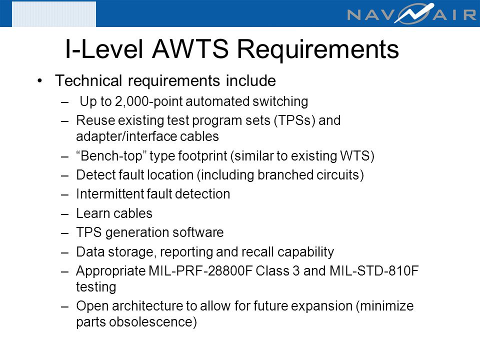 I Level+AWTS+Requirements organizational & intermediate level wire tester acquisitions (fy 07