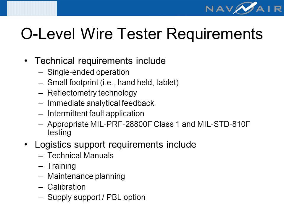O Level+Wire+Tester+Requirements organizational & intermediate level wire tester acquisitions (fy 07