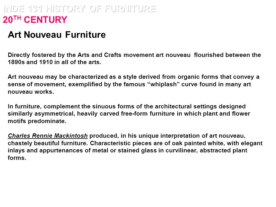 art nouveau furniture characteristics