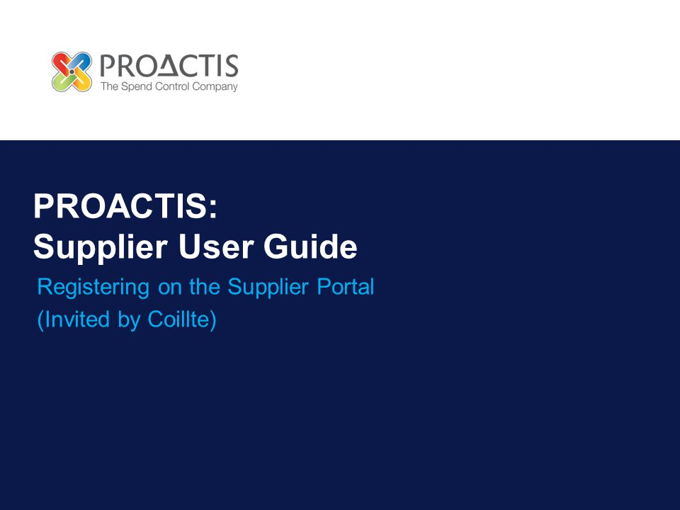 PROACTIS: Supplier User Guide