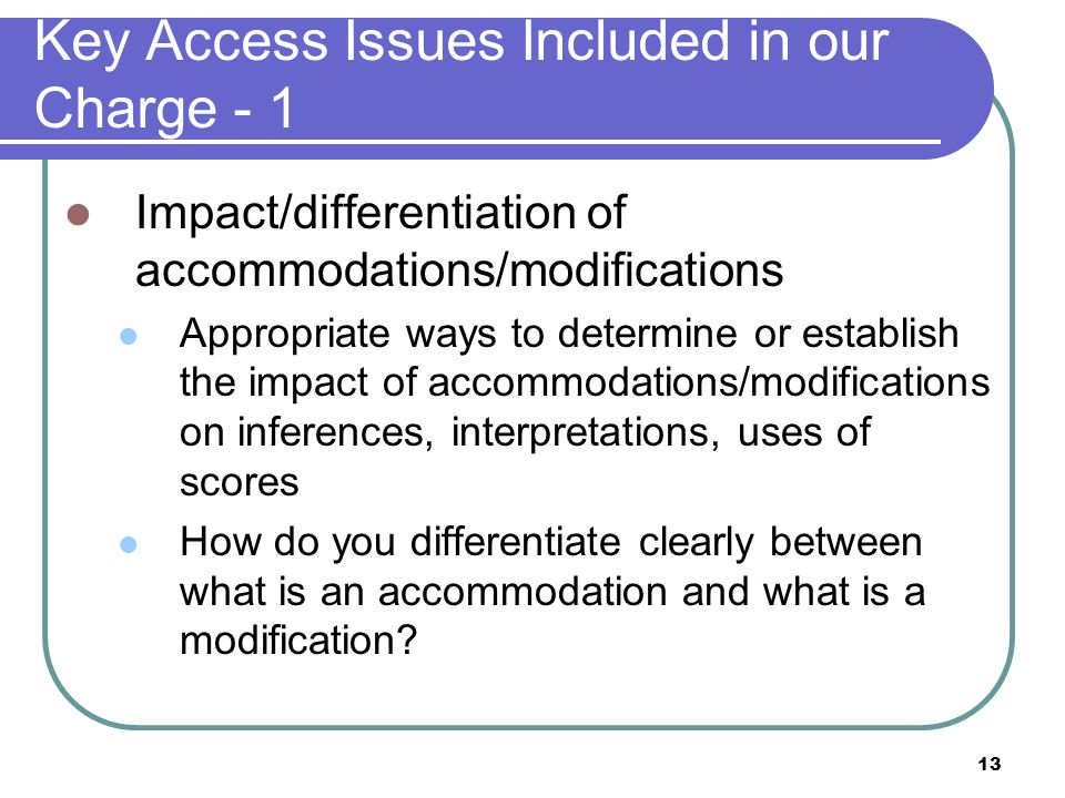 Key Access Issues Included in our Charge - 1