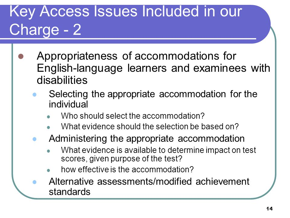 Key Access Issues Included in our Charge - 2