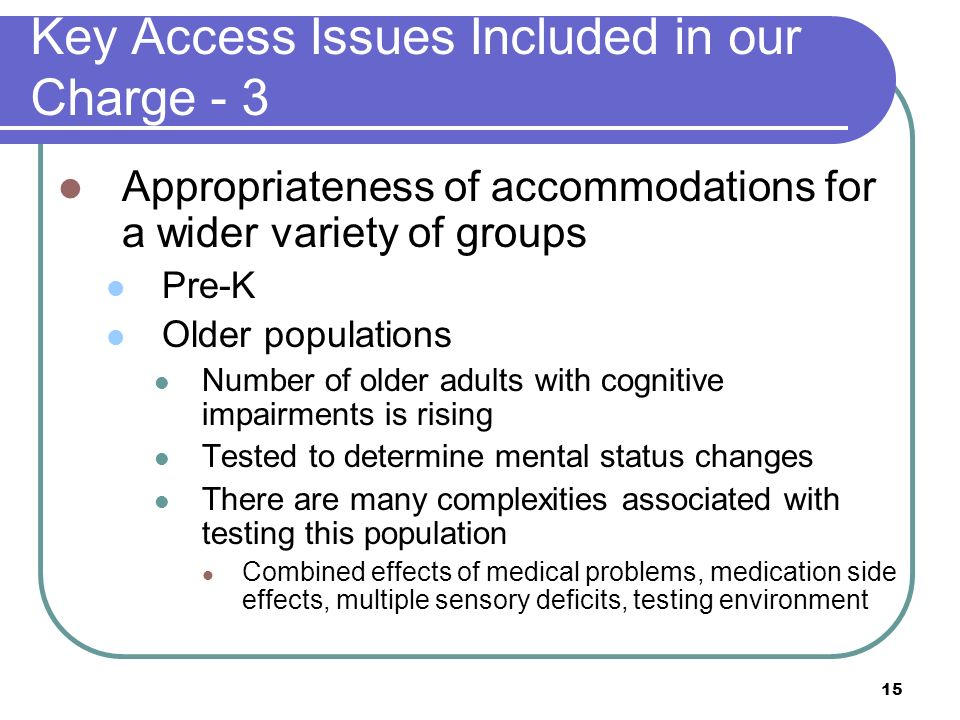 Key Access Issues Included in our Charge - 3