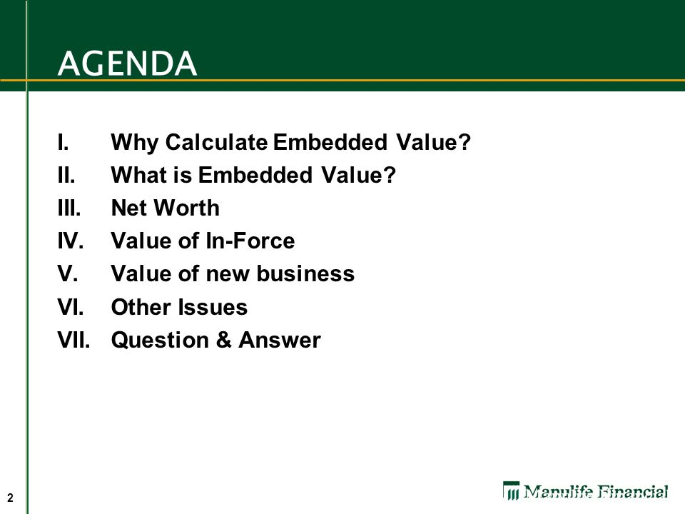 An Introduction To Embedded Value Ppt Video Online Download